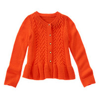 Cable Knit Peplum Cardigan