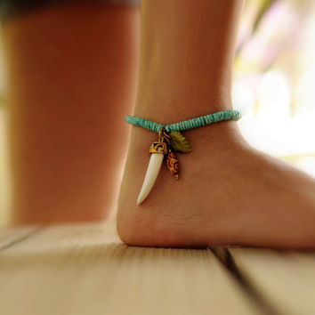 Beaded Ankle Bracelet with charms by NativeLivingJewelry on Etsy