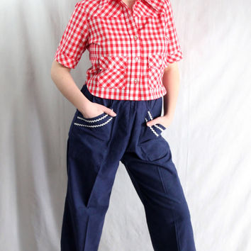 50s Pants / Rockabilly / Mid Century / Mad Men / Navy Blue / Ric Rac / Vic Gene Kansas City Missouri