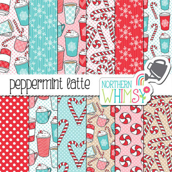 "Christmas Digital Paper - ""Peppermint Latte"" - Winter scrapbook paper with coffee and candy canes in red, pink & light blue - commercial use"
