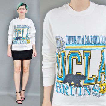 Vintage UCLA Sweatshirt College University UCLA Bruins California Sweatshirt Raglan Fleece Sweatshirt Womens Fitted Crewneck Sweater (M/L)