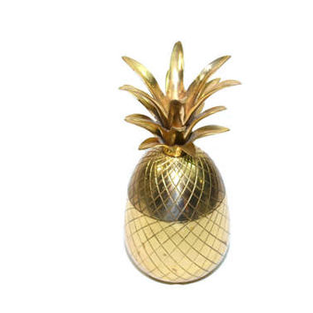 "9.5"" Brass Pineapple Box Brass Pineapple Vintage Brass Pineapple Gold Wedding Pineapple Wedding Decor Pineapple Decor"