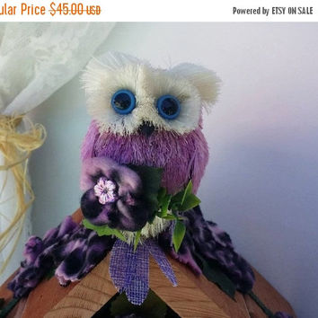 Summer Sale Owl Decor, Owl, Unique Purple Owls, Purple Leopard Owl Birdhouse, Owl decor, Owl gifts, Housewarming gift, Purple Owl Decor