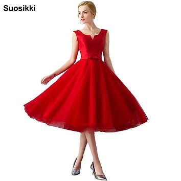 2017 New arrival elegant party dress Vestido de Festa satin A-line tulle bow dress red prom dresses short formal evening gown