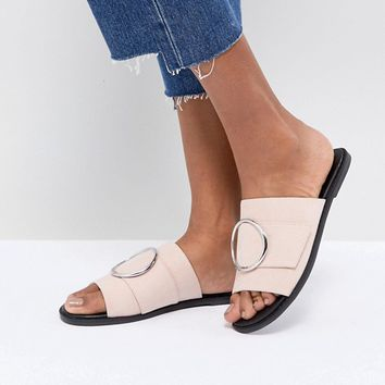 London Rebel Round Buckle Trim Sandal at asos.com