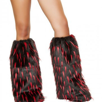 Black-Red Furry Leg Warmer Rave Accessories