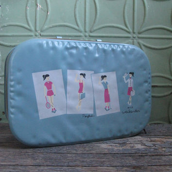 Vintage Childs' Suitcase, Miss Weekender Child's Suitcase, Ponytail Girl Suitcase, Light Blue Childs Travel Suitcase, Vintage Luggage