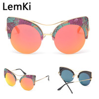 New Printed Big Round Frame Sun Glasses  6 Colors Summer Cat Eye  Sunglasses Women Brand Designer