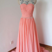 2015 V-back Light Coral Chiffon Beaded Long Prom Dress with Long Train