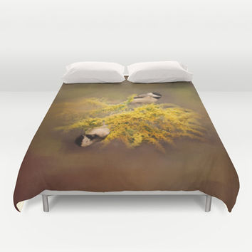 Pot of Gold - Chickadees - Song Birds - Wildlife Duvet Cover by Jai Johnson