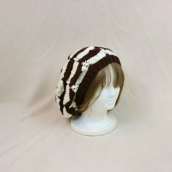 Chevron Slouch Beanie Hat Brown Cream Baggy Knit Large Slouchy White Boho Stripes