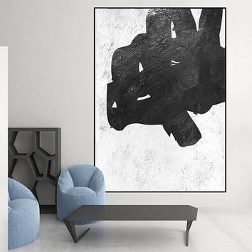 extra large original painting, geometric art black and white abstract painting, canvas art,  acrylic painting, modern Contemporary Painting