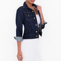 Denim Long-Sleeve Button Collared Jacket Jeans