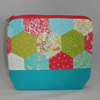 One Of A Kind Multi-Colored Hexie Zipper Pouch