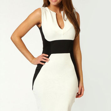 White Sleeveless Contrast Panel Bodycon Dress with Deep V- Neck