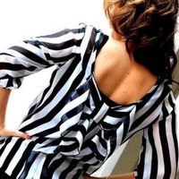 Black and White Striped Bow Back Top