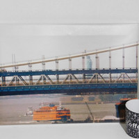 The Statue of Libery and the ferry - New York Photography - Printed on Canvas - 13 in x 19 in, Cup and Bag are placed to show the size