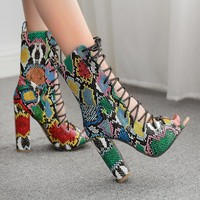New popular women's serpentine fish snake-top strappy sandals with chunky heels