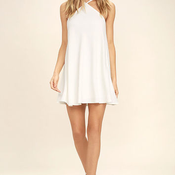 High Gear White Shift Dress