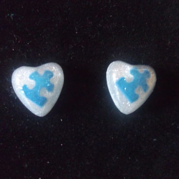 Autism Awareness Puzzle Piece Resin Post Stud Earrings, Autism Jewelry