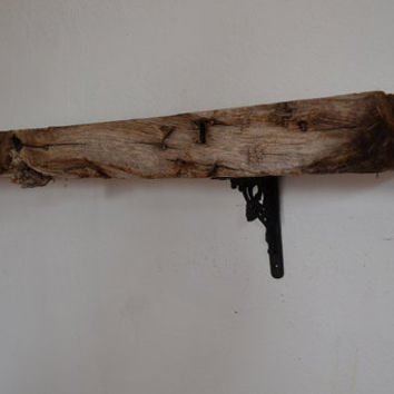 Extremely rustic wall mount shelf barnwood 53 inches