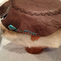Tree Drum with Turquoise and Rabbit Fur