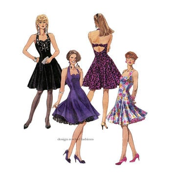 1980s HALTER COCKTAIL DRESS Pattern Sexy Fit & Flare Party Dress and Petticoat McCalls 5748 Bust 32.5 Size 10 UnCUT Vintage Sewing Patterns