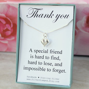 Thank you gift for friend, girlfriend, maid of honor, tiny heart sterling silver necklace in a gift box, silver necklace, boxed gift