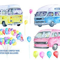 Hand painted watercolor camper vans blue, pink, yellow and balloons printable instant download scrapbook watercolor greeting cards