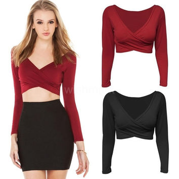 New Fashion Women Crop Top Plunge V Neck Cross Front Long Sleeve Short T-Shirt Clubwear Black/Burgundy = 1956686148
