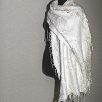 Nuno Felted Scarf Wrap Fur Free Ahimsa Wedding White Long Pure Alpaca Kid Mohair Silk Wrap OOAK