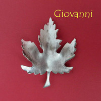 Vintage Leaf Brooch - Signed Giovanni Pewter Toned Leaf Pin, Gift Idea, Gift Box, FREE SHIPPING