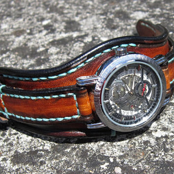 Steampunk Watch, Unisex Leather Watch Cuff,, Mens Watch, Womens Watch, Women Cuff Bracelet