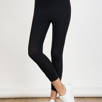 Black High Waist Lattice Detail Cropped Leggings