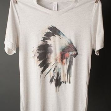 "GIna ""Indian Headdress"" Oatmeal Crew Tee"