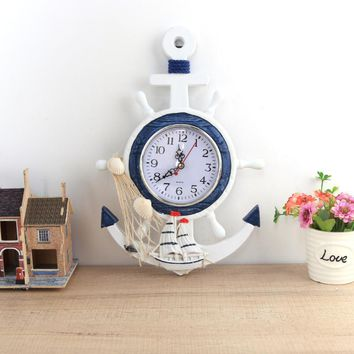 Mediterranean Style Wall Clock Wood  Electronic Wall Clock for Kitchen Bathroom Hanging Quartz Clock Home decoration