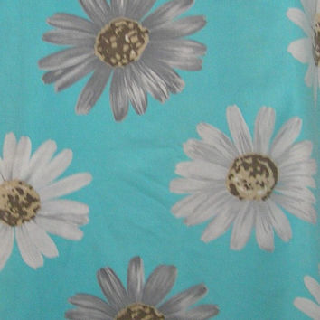 One and Three Eights Yard Cut of Vintage 1970s Flower Power Turquoise Cotton Canvas Fabric, Large White & Gray Daisies, Crantex Fabric