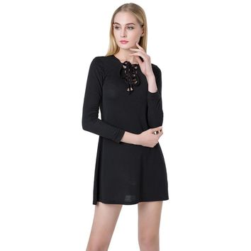 Sexy Women Mini Dress V Neck Long Sleeve Lace Up Slim Casual Dress Green/Black