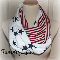 Red White Blue Stripe Gettysburg Stars Infinity Flag Scarf Jersey Cotton Patriotic Scarf 4th of July