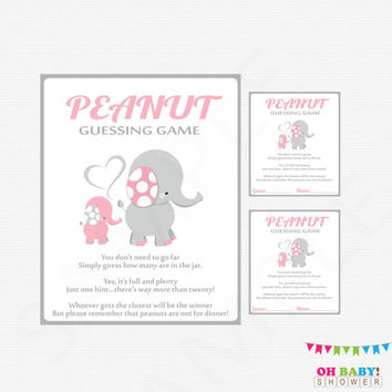 Pink Elephant Baby Shower, Guess How Many, Peanut Guessing Game, Pink and Gray, Printable Baby Shower Games, Instant Download, EL0005-LP