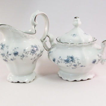 Blue Garland Creamer and Sugar | Johann Haviland Bavaria