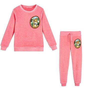 Girls Christmas Outfits Boys Clothing Set Baby Girls Winter Clothes Kids Tracksuit Velour Fleece Fox Children Sets