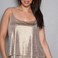ToTo Collection Shimmer Foil Plus-Size Camisole Tank Top With Chain Straps - Gold