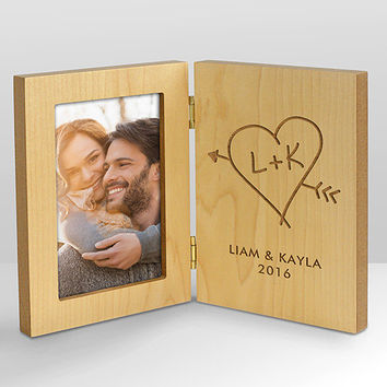 Personalized Carved Initial Hinged Wood Frame - L8215141