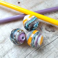 Lampwork Beads, Stripe Etched Glass Beads, Handmade Supplies, Handmade Lampwork jewelry Supplies