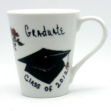Hand painted 2012 Graduation Cup with Hat by PaintedDesignsByLona