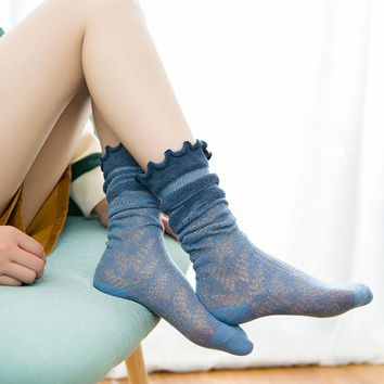 2018 Hot Summer Women Girls Lace Long Solid Color Socks Thin Cotton High Socks Fashion Middle Hosiery Lace Hollow Mesh Socks