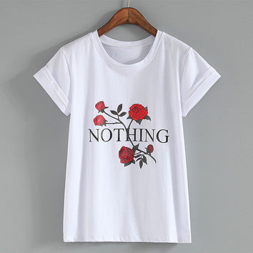 New Fashion Women Summer T shirts Female Nothing Letter Rose Floral Print t-shirt Short Sleeve Plus Size Woman tops 32785 SM6