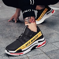 OFF-WHITE 2018 tide shoes wild men's sports shoes old shoes F0809-1 Black+yellow line
