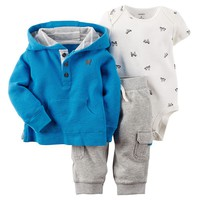 Carter's Knit Henley Hoodie Set - Baby Boy, Size: